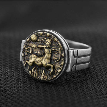 rings, Sagittarius Celtic Round Horoscope Ring - Mens Rings and Wedding Bands by Lox and Lasso™️