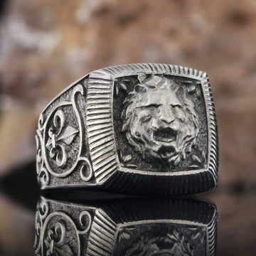 rings, Silver Lion Ring - Mens Rings and Wedding Bands by Lox and Lasso™️