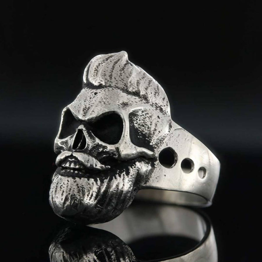 rings, Skull with Beard Ring - Mens Rings and Wedding Bands by Lox and Lasso™️