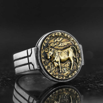 rings, Taurus Celtic Round Horoscope Ring - Mens Rings and Wedding Bands by Lox and Lasso™️