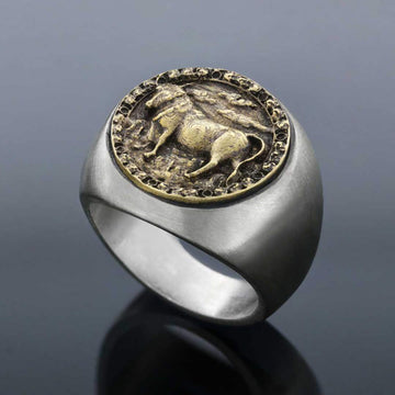 rings, Taurus Round Horoscope Ring - Mens Rings and Wedding Bands by Lox and Lasso™️