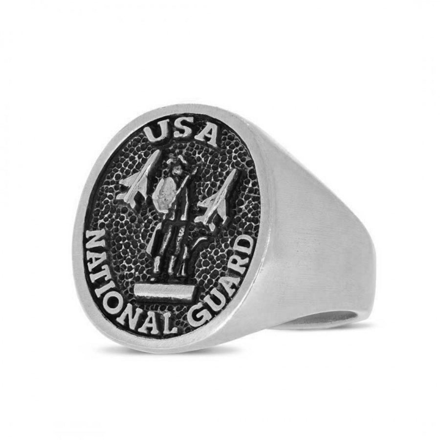 rings, US National Guard Round Ring - Mens Rings and Wedding Bands by Lox and Lasso™️