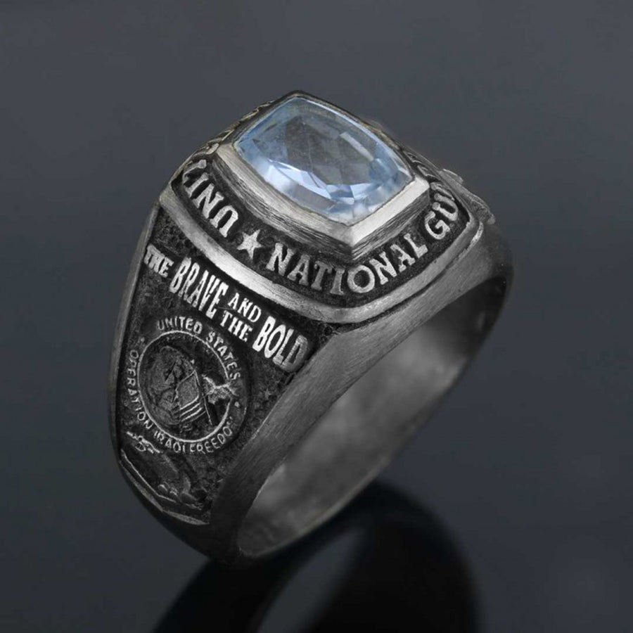 rings, US National Guard Blue Stone Ring - Mens Rings and Wedding Bands by Lox and Lasso™️