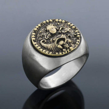 rings, Virgo Round Horoscope Ring - Mens Rings and Wedding Bands by Lox and Lasso™️