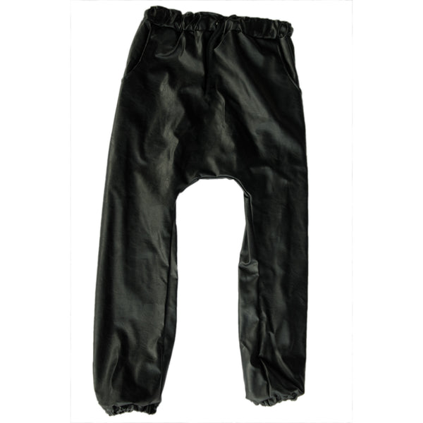 Black Leatherette Chinos