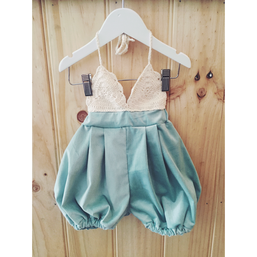 Sea Mist Crocheted Triangle romper