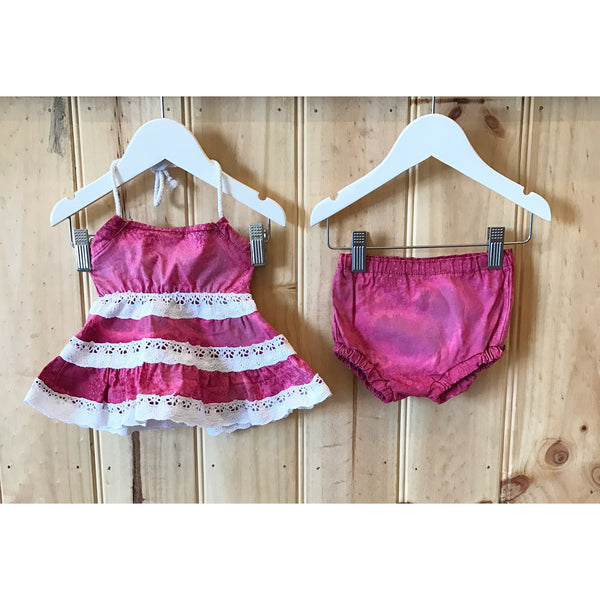 Pink Acid wash Top and Bloomers