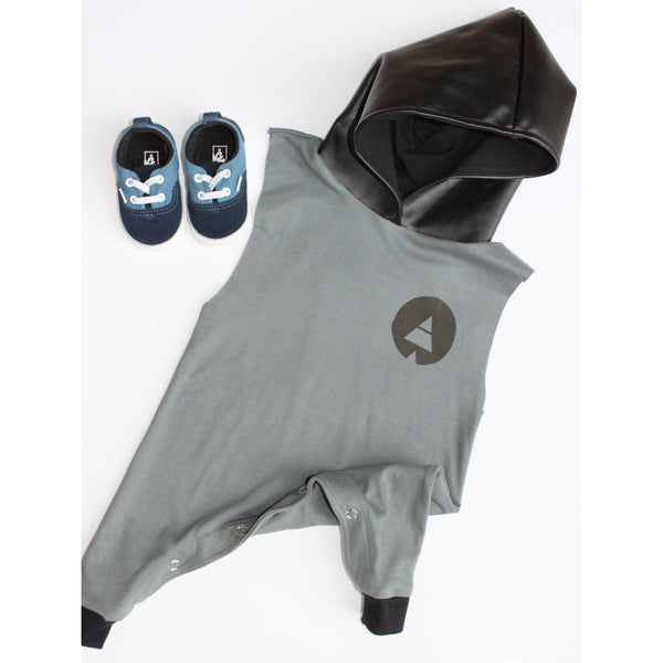 Steele Grey Hooded Romper