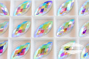 12x28mm Navette Crystal AB | 2 Pair
