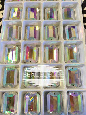 13x18mm Rectangle Crystal AB | 2 Pair
