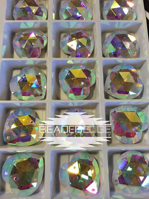 18mm Triangle Facet Hearts AB | 2 Pair