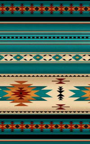 Turquoise Indian Blanket Stripe | Fabric