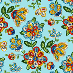 Lt Turquoise Beaded Floral  | Fabric