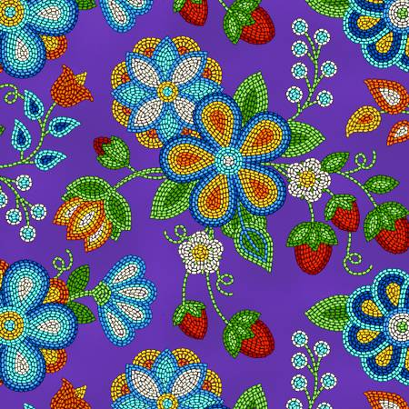 Purple Beaded Strawberry  | Fabric