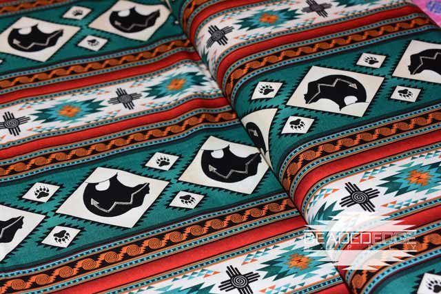 Turquoise Western Bear | Fabric