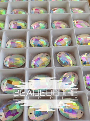 13x18 Faceted Oval Crystal AB | 3 Pair