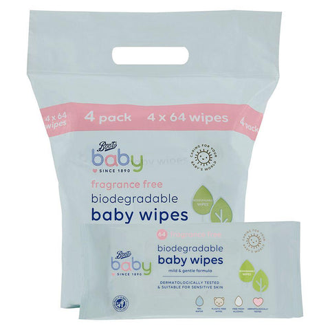 Boots Baby Biodegradable Fragrance Free soft baby wipes, 64x4 pack = 256 wipes