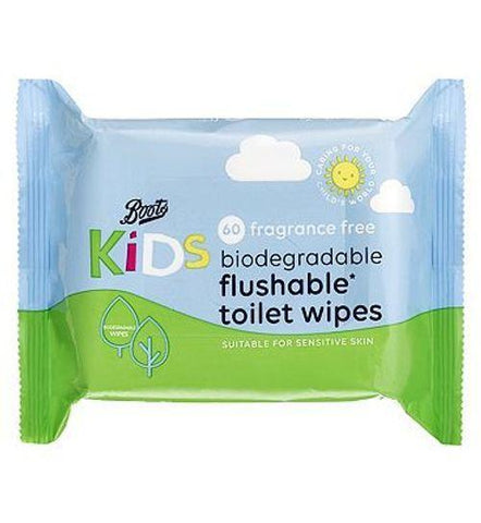 Boots Kids Fragrance Free Biodegradable Toilet Wipes, single pack = 60 wipes