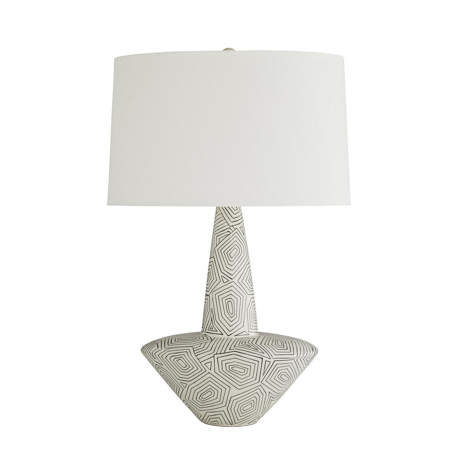 Arteriors - One Light Table Lamp - Toronto - Ivory Gloss &amp, Black Geometric Pattern