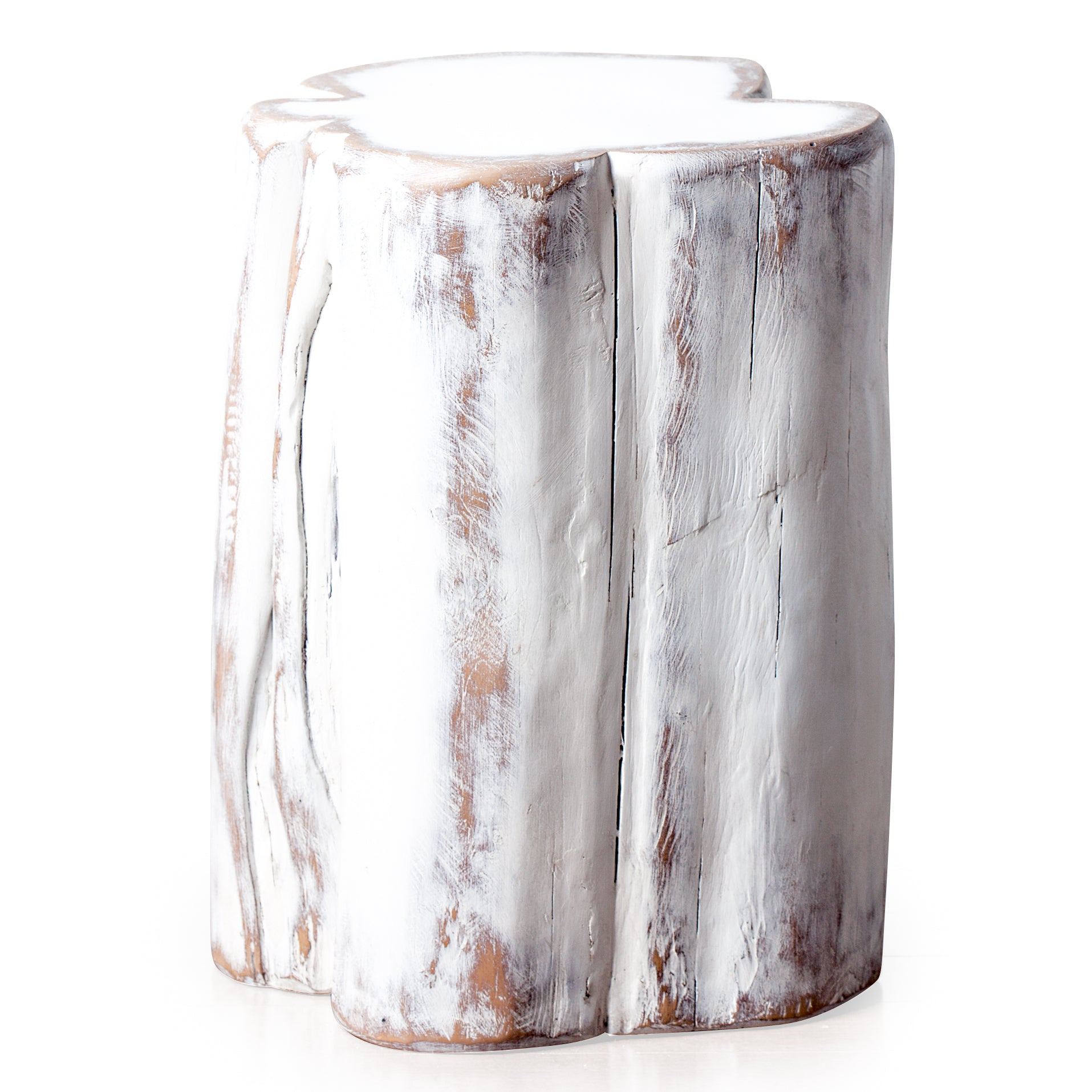 White wash Tree stump Side table