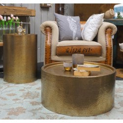 Harrison Hammered Drum End Table