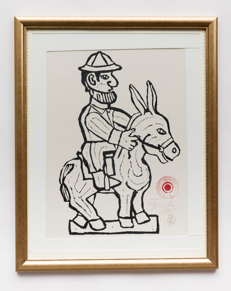 White Man Riding Donkey in Pith Helmet (AF35)