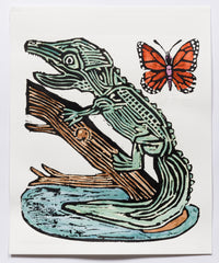 Alligator with Butterfly (AF Print31)