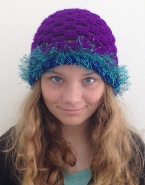 Hat purple/turquoise trim #1 Penny Richards
