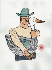 Man in Blue Hat with Goose (AF Print2)