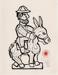 White Man Riding Donkey in Pith Helmet (AF Print 3)