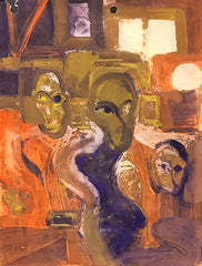 Untitled (Three Figures Inside a Room Several Windows Round Lamp Shade)