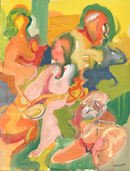 Untitled (Three Figures and Dog Green and Yellow)
