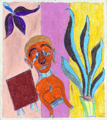 Untitled (Figure Orange with Blue Plant JL01)