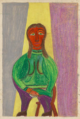 Untitled (Figure Seated Purple Pants Green Shirt JL15)