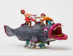 Untitled (WH220 two figures riding catfish)