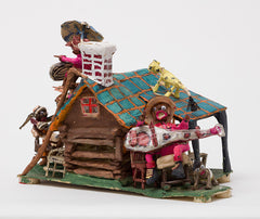 Untitled (WH238 house blue roof people animals)