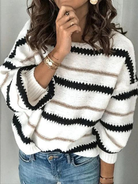 Loose-fit Stitching Pullover Sweater