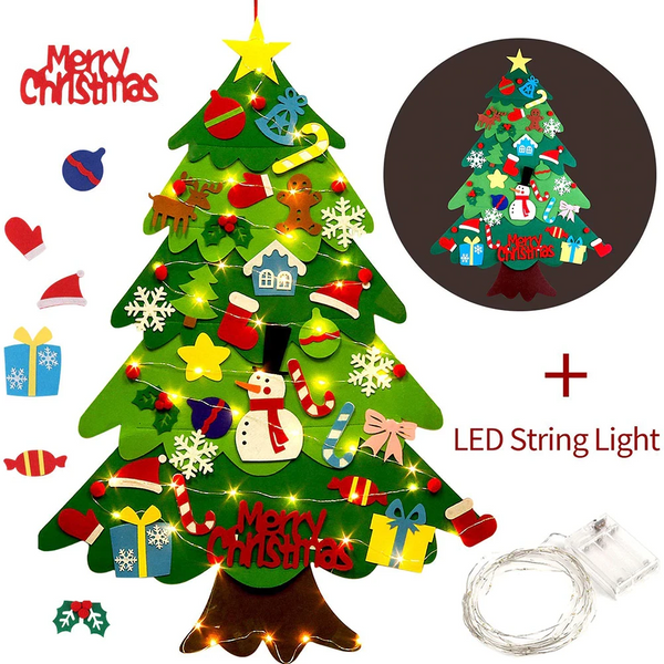 🎁Only $19.99 LAST DAY🎁Send LED String Light for Free - DIY Felt Tree & Spare Ornaments Bundle