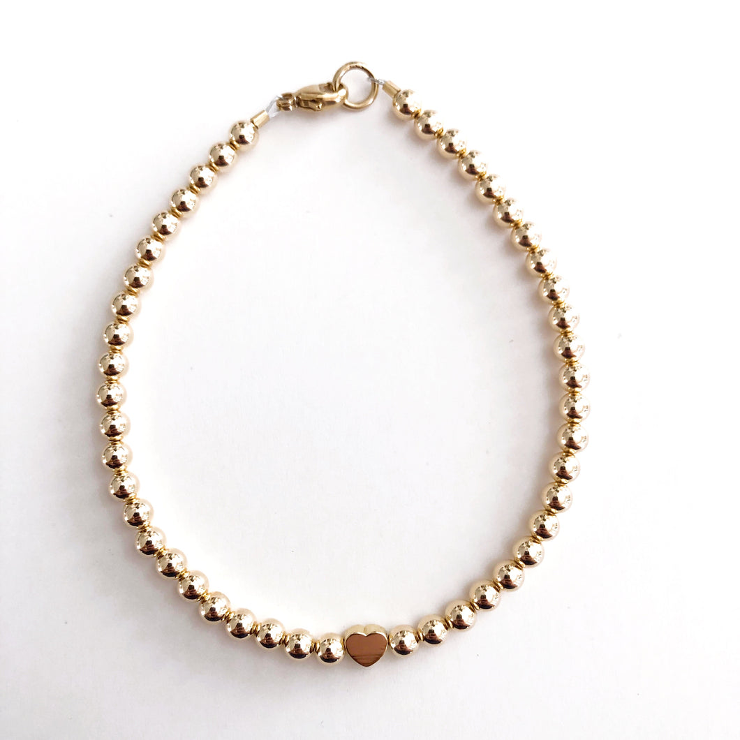 4mm 14k Gold Filled Heart Bracelet