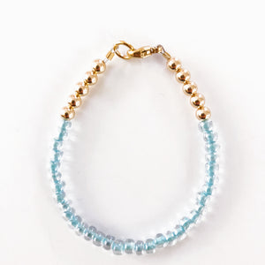 Clear Blue Bead Bracelet