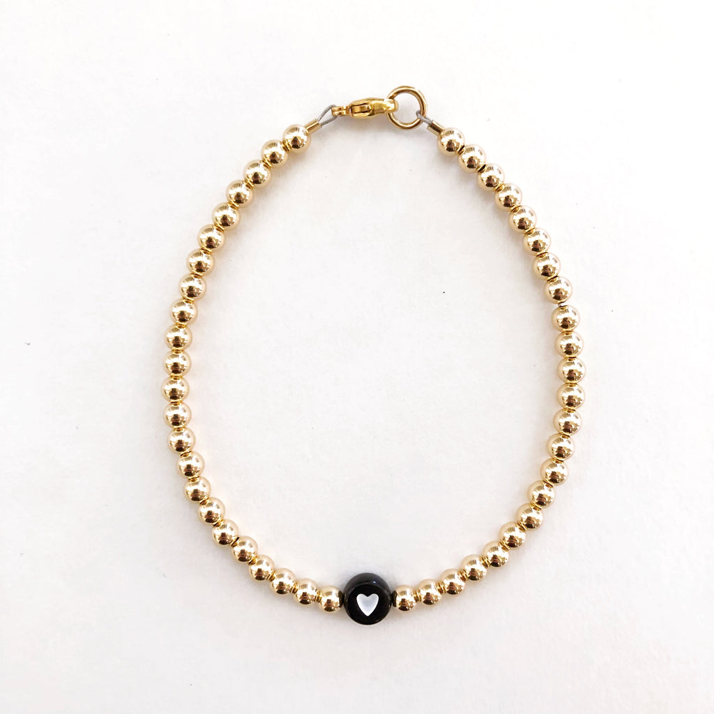 4mm 14k Gold Filled White Heart Bracelet