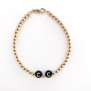 4mm 14k Gold Filled Black Letter Bracelet