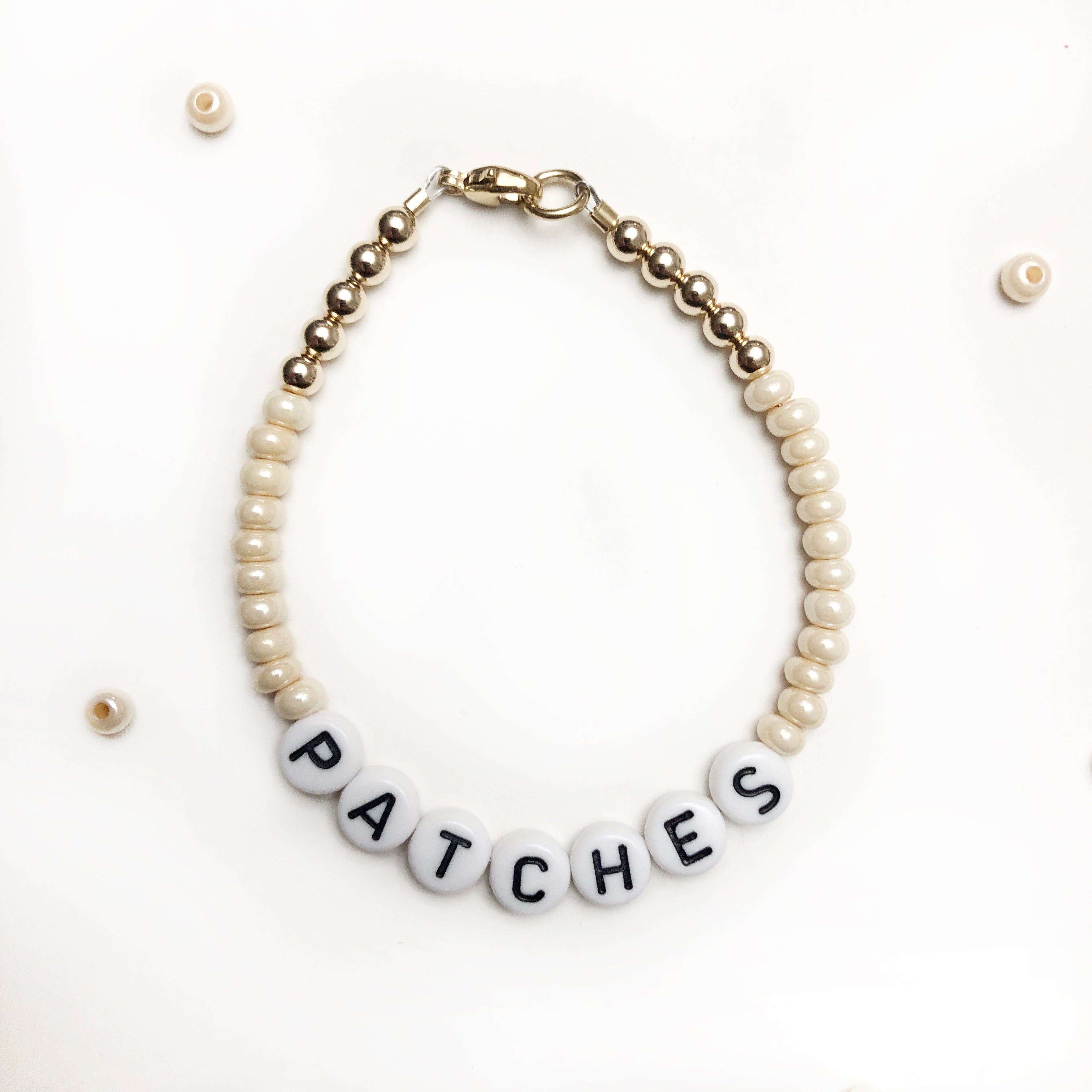 Golden Cream Bead Bracelet