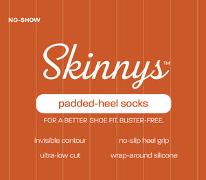 Illustration of front of sample Skinnys packaging: No-Show Skinnys (TM) padded-heel socks. For a better shoe fit. Blister-free. Invisible contour, no-slip heel grip, ultra-low cut, wrap-around silicone