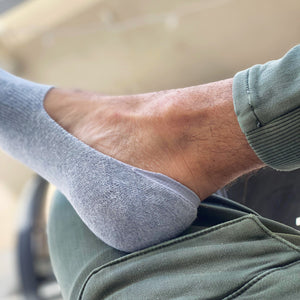 Photo of foot wearing a Skinnys padded-heel sock