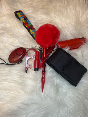 Red Self Defense Key Chain