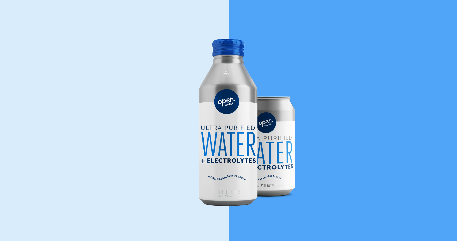 Open Water 16oz still water bottle and 12oz still water can