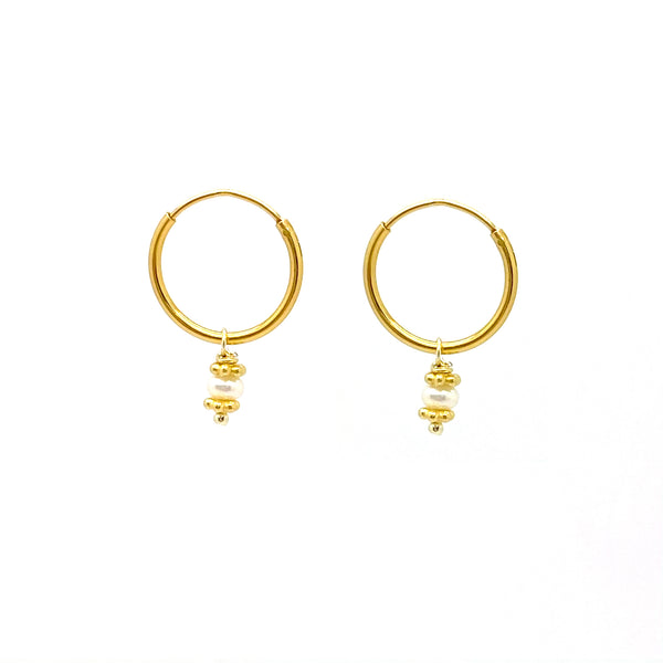 Mini Pearl Hoop Gold