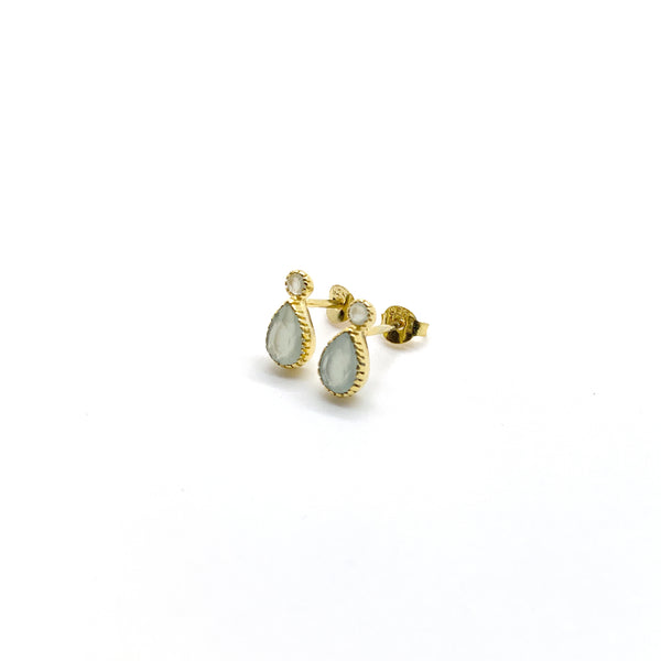 Chalcedony Droplet Studs