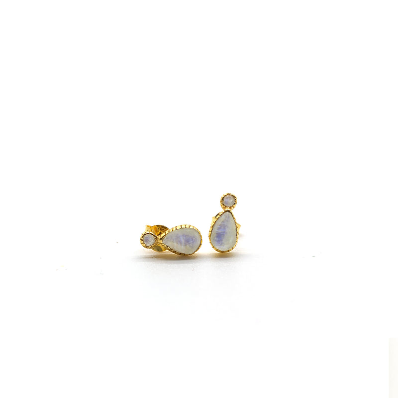 Rainbow Moonstone Droplet Studs